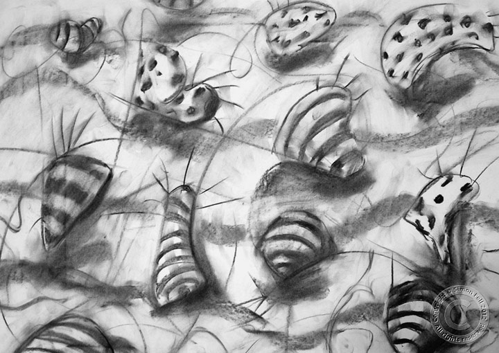 'Complex in motion' charcoal on paper drawn live for video.