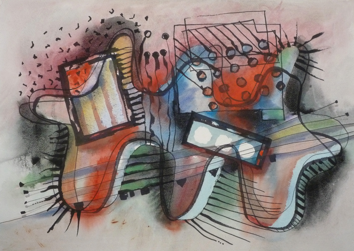 Rhythm-an-green-an-red, watercolour, gouache, felt-pen and pencil on paper, A2 size