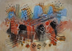 'Rhythm and red and blue', watercolour, gouache, wax crayon and pencil on paper,A2 size