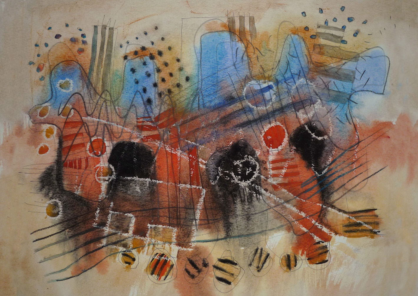 Rhythm-an-red-an-blue, watercolour, gouache, wax crayon , felt-pen and pencil on paper, A2 size