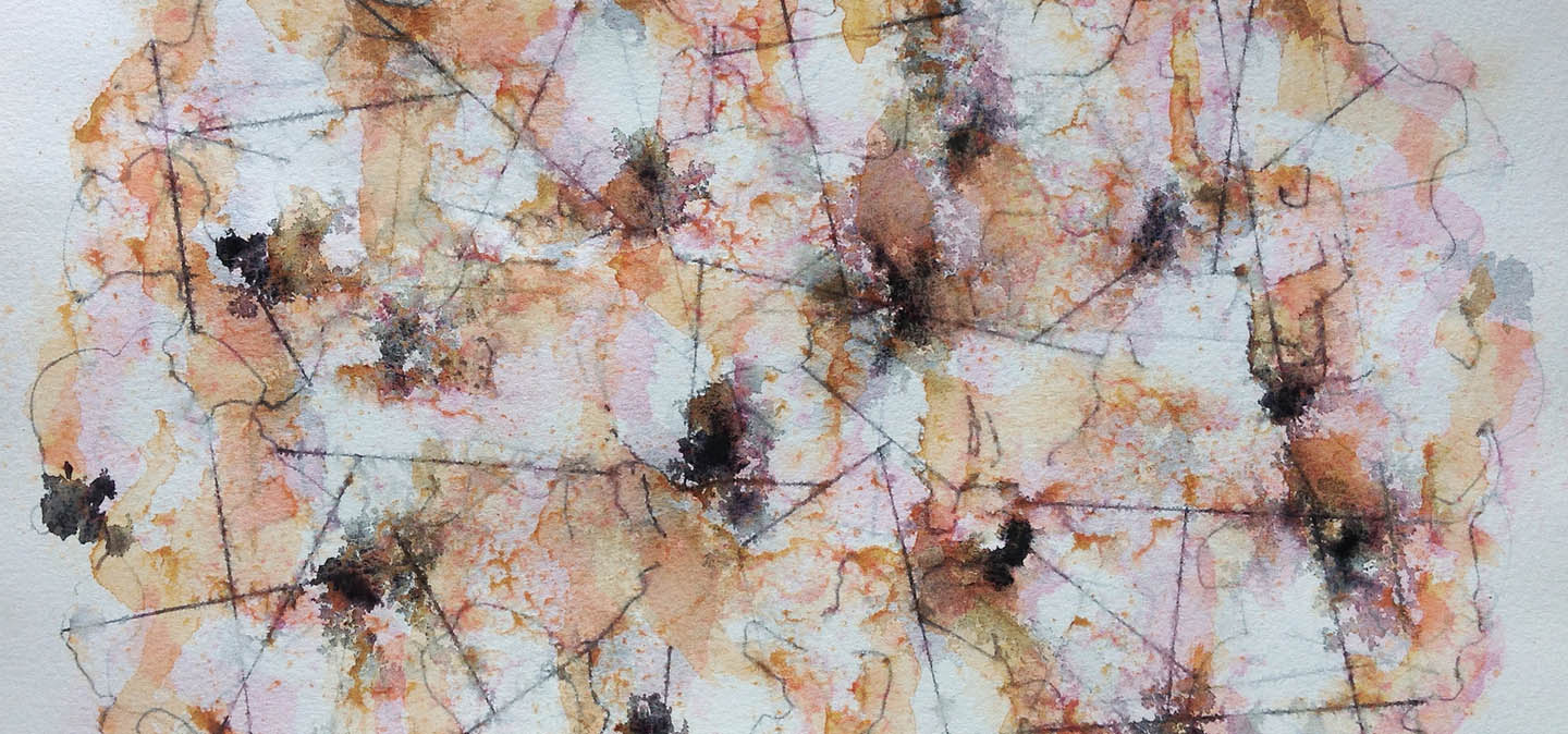 The Artists Space image, an abstracted image of connections and cores in watercolour